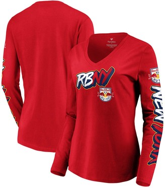 Women's Fanatics Branded Red New York Red Bulls Hometown Collection V-Neck Long Sleeve T-Shirt