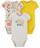 Carter's Child Of Mine By Child of Mine by Short Sleeve Bodysuits, 3pk (Baby Girls)