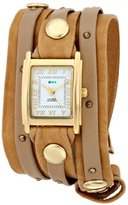 La Mer Women's LMSW2002 Camel Taupe Gold Stud Layer Wrap Watch
