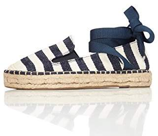find. Women's Espadrilles in Stripes with Ankle Ribbon