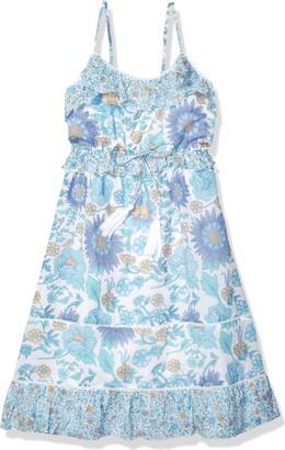 Masala Baby Ruffle Sundress Vintage Floral Blue (Womens) S