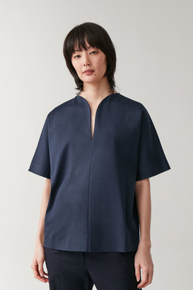 Cos Cotton Top With Rounded Neckline