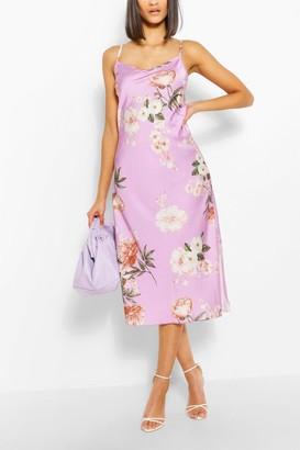 boohoo Floral Satin Maxi Dress