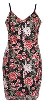 Quiz Black and Red Rose Embroidered Mesh Bodycon Dress