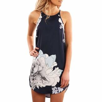 Xinqiao Women Floral Dress Spaghetti Strap Scoop Neck Summer Mini Beach Sundress (Navy Small)