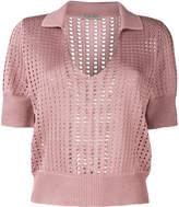 Bottega Veneta perforated knit polo shirt