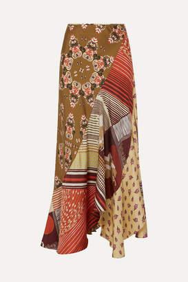 Chloé Patchwork Printed Silk-twill Maxi Skirt - Green