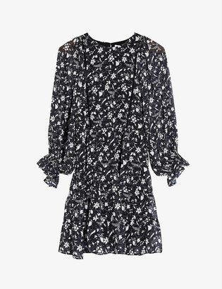 Topshop Chuck On star and floral-print woven mini dress