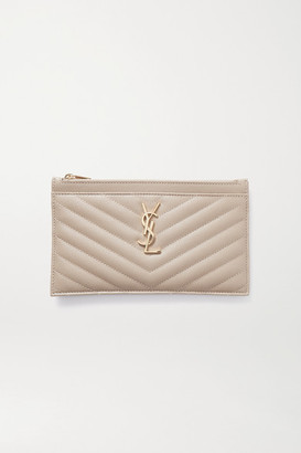 Saint Laurent Monogramme Quilted Textured-leather Pouch - Beige