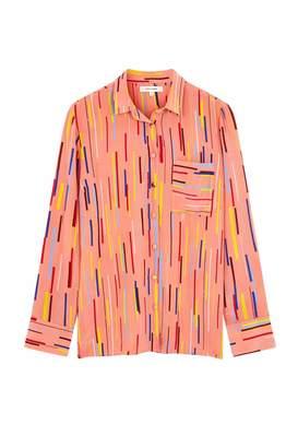 Parker Chinti & Dusty-rose Verticals Silk Crepe De Chine Shirt