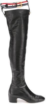 Thom Browne RWB-stripe suspender boots
