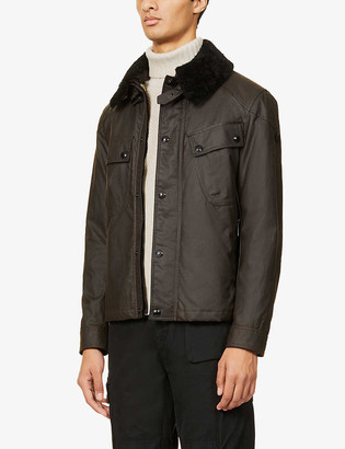 Belstaff Patrol shearling collar waxed cotton jacket