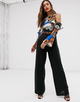 AX Paris chain print cold shoulder jumpsuit