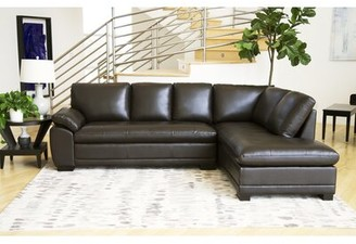 "Darby Home Co Barnard Leather 114"" Right Hand Facing Sectional"