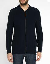 Minimum Navy Ashwood Bomber Zipped Sweatshirt