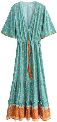 Goodnight Macaroon 'Celine' Bohemian Floral Print Wasit Tied Tassel V-Neck Maxi Dress (2 Colors)