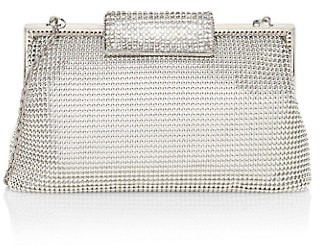 Whiting & Davis Crystal Clasp Metal Mesh Clutch