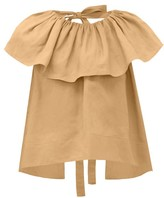 Loup Charmant Dominica Ruffle-neck Cotton Blouse - Womens - Light Brown