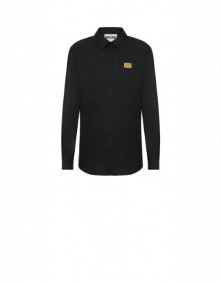 Moschino Metal Label Poplin Shirt Man Black Size 38 It