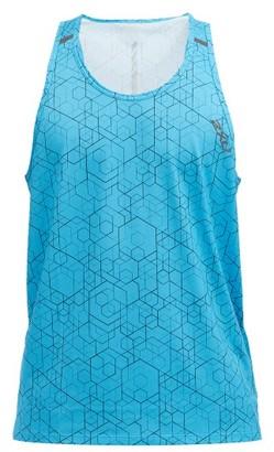 2XU Ghst Geometric-print Technical-jersey Tank Top - Blue Multi