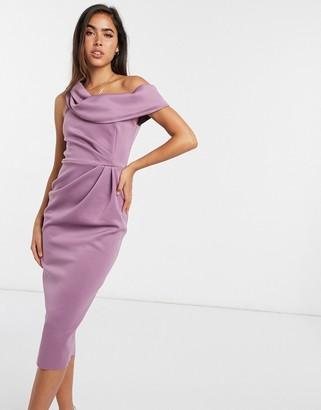 ASOS DESIGN drape fallen shoulder midi pencil dress in lilac