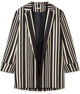 Alice + Olivia Neta Striped Cotton-blend Blazer