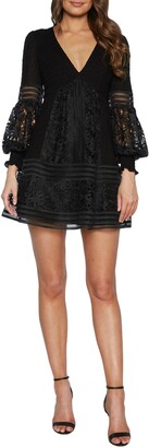 Bardot Mariah Long Sleeve Swiss Dot & Lace Babydoll Dress