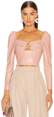 Jonathan Simkhai Vegan Leather Pleated Top in Afterglow | FWRD
