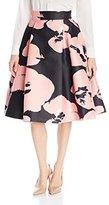 Halston Women's High-Waist Printed Structured Skirt