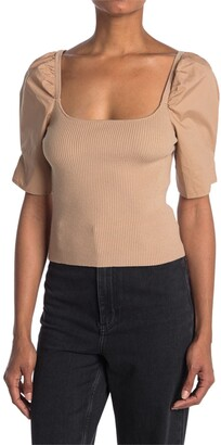 Lush Square Neck Short Puff Sleeve Crop Top