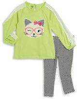 Kids Headquarters Girls 2-6x Lacy Cat Top and Leggings Set