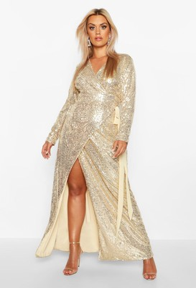 boohoo Plus Sequin Wrap Floor Sweeping Maxi Dress
