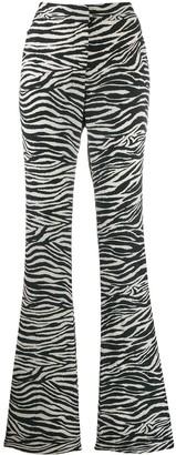 Derek Lam 10 Crosby Zebra Print Flared Trousers