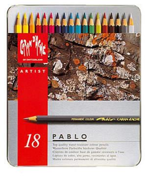 Caran d'Ache Pablo Permanent Colored Pencils in A Durable Metal Box, 18 Color Assortment