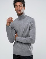 Paul Smith Ps By Jumper With Roll Neck In Merino With Contrast Tipping Grey