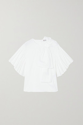RED Valentino Bow-detailed Cotton-blend Poplin Blouse - White