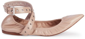 Valentino Love Latch Grommeted Leather Ankle-Wrap Ballet Flats