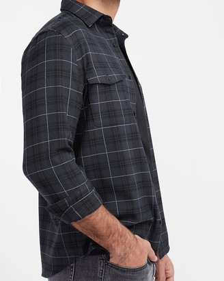 Express Slim Plaid Stretch Flannel Shirt