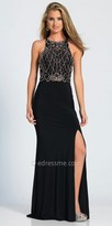 Dave and Johnny Double Cutout Sparkling Web Embellished Prom Dress