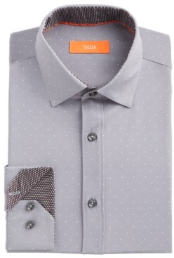 Tallia Men's Slim-Fit No-Iron Performance Stretch Grey Dot Dress Shirt