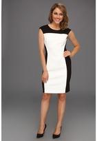 Vince Camuto Colorblock Ponte Sheath Dress (Rich Black) - Apparel