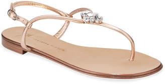 Giuseppe Zanotti Jeweled Metallic Flat Thong Sandals