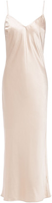 Charli Open-back Crinkled Satin Midi Slip Dress