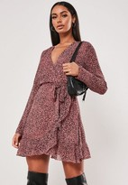Missguided Pink Leopard Print Ruffle Hem Wrap Tea Dress