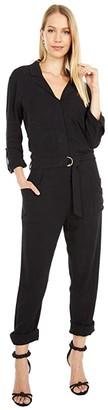 bobi Los Angeles Black Label 3/4 Sleeve Pocket Utility Jumpsuit in Indio Linen (Black) Women's Jumpsuit & Rompers One Piece