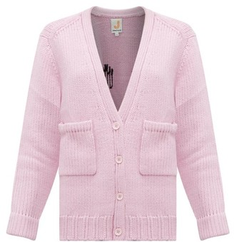 JoosTricot Smiley-embroidered Wool-blend Cardigan - Womens - Light Pink