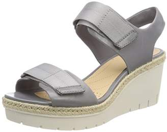 Clarks Women's Palm Shine Ankle Strap Sandals, Grey Leather