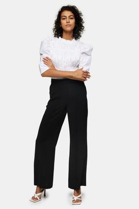 Topshop Womens Black Seam Wide Leg Trousers - Black