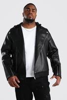 boohoo Mens Black Big And Tall Faux Leather Biker, Black