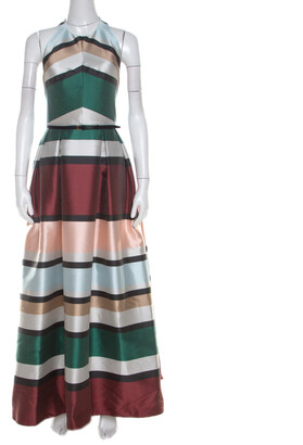 Elie Saab Multicolor Candy Striped Halter Neck Ball Gown S